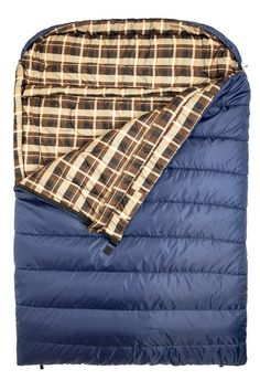 A queen-sized sleeping bag for future Mr. and Mrs. camping trips.