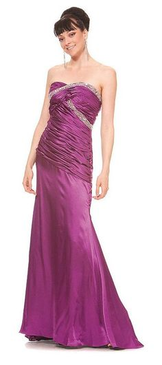 Long Purple Prom Dress Strapless Sweetheart Neck Charmeuse Gown Bead $177.99