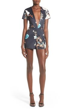 Missguided Floral Plunge Romper available at #Nordstrom