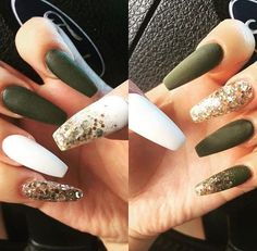 Olive green nails with gold flakes Nail art in 2019 Autumn nails, Nail designs, Gold nails Gold Toe Nails, Aycrlic Nails, Coffin Nails, Cute Nails, Manicure, Nail Polishes, Green Nail Polish, Green Nails, Nail Swag
