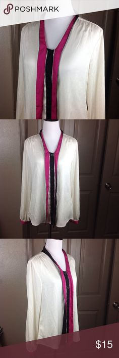 Lord & Taylor Top Button Down Medium Secretary Tie Great condition cream/black/pink full button down with secretary tie polyester 26 inch length 19 inch across bust Lord & Taylor Tops Blouses