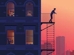 #FolioFeatured: 'New York City at Sunset', Personal piece © Peter Greenwood. www.folioart.co.uk/peter-greenwood