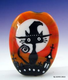 """PRINCESS OF DARKNESS"" byKAYO a Handmade CAT WITCH Lampwork Glass Focal Bead SRA"