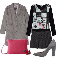 Il vestito di questo outfit presenta diverse fantasie e risulta, per questo, fresco e allegro. L'ho abbinato ad un cappottino e décolleté grigi e pochette fucsia.