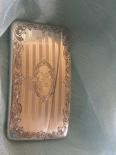 Antique Sterling Silver Calling Card Case  J D G monogram