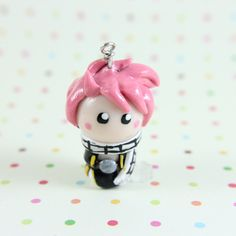 Fairy Tail Natsu chibi Necklace cell phone charm by TrenoNights, $13.00