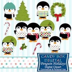 Christmas Holiday Penguin Clip Art by CandyBoxDigital. So fun, for scrapbooks, card making, papercrafts, journals, blogs and website graphics. In our Etsy shop.