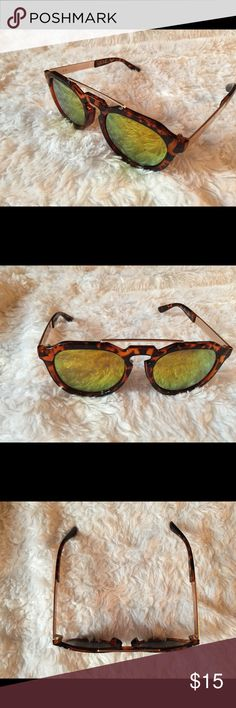 AJ Morgan Gold Lense Sunglasses Great condition, make me an offer! ❄️ Check out my closet for more cute items! I ACCEPT ALL REASONABLE OFFERS!  ❄️ Items in my closet include: Brandy Melville, Urban Outfitters, Vans, Free People, LL Bean, BCBG, H&M, Victoria's Secret, Forever 21, American Eagle, Steve Madden, Burton and more! Aj Morgan Accessories Sunglasses