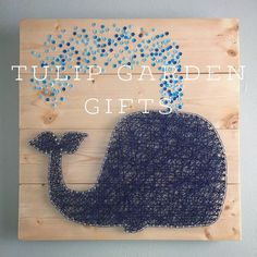 Whale Sequin String Art by Tulip Garden Gifts. What an adorable addition to any children or nautical themed room. And makes a great baby shower or birthday gift!