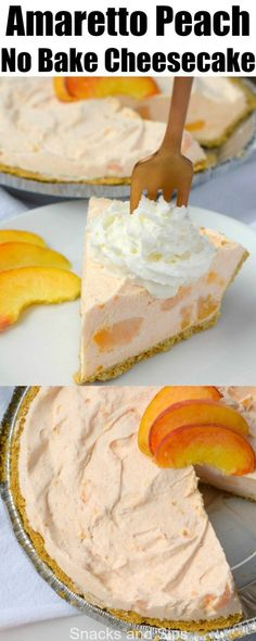 You'll love the flavors that blend together in this lovely Amaretto Peach No Bake Cheesecake! This easy to make dessert will wow your guests! Peach Cheesecake, No Bake Cheesecake, Cheesecake Recipes, Cheesecake Bites, Best Dessert Recipes, Sweet Recipes, Delicious Desserts, Easy To Make Desserts, No Bake Desserts