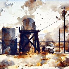 """Tim Saternow on Instagram: """"""""Amboy Tanks"""" watercolor & cold wax medium on paper. Now at the LAKE PLACID CENTER for the ARTS: """"The World Through Watercolor"""" Exhibit.…"""" Cool Landscapes, Exhibit, Tanks, Wax, Industrial, Cold, Watercolor, Mountains, Medium"""