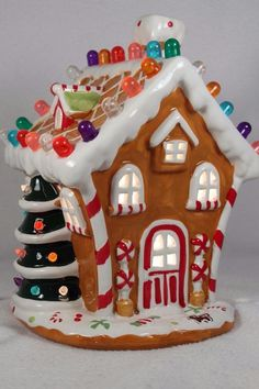 "NEW Ceramic Light Up Gingerbread House-10"" Tall Colorful #65286-C NIB  
