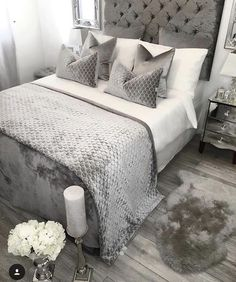 Outstanding Bedroom Ideas, A cool yet creative collection on room decor ideas. For other outstanding bedroom styling info why not visit the pin to wade through website summary 4035764689 at once. Grey Bedroom Decor, Glam Bedroom, Room Ideas Bedroom, Bedroom Inspo, Home Bedroom, Master Bedroom, Bed Room, Dream Rooms, Luxurious Bedrooms