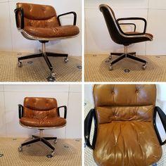#MidCenturyModern #Knoll #Leather #Chrome #PollockChair #SwivelBase #OfficeChair