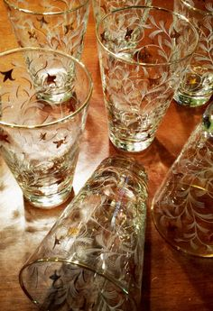 Vintage LIBBEY GLASS TUMBLERS Royal Fern by ShantyIrishStockyard
