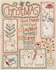 Free Redwork Designs for Christmas | The Wish Redwork Christmas Quilt, free patterns by Bronwyn Hayes at ...
