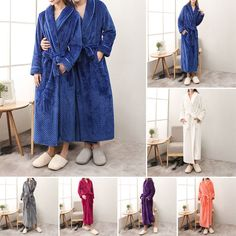 b5cc21fc38 Men s Women Flannel Fluffy Soft Cozy Nightwear Sleepwear Pajama Gown Bath  Robe  Bath  Cozy