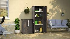 Keter Boston Resin Tall Outdoor Storage Shed Cabinet for Patio * See this great product.-It is an affiliate link to Amazon.