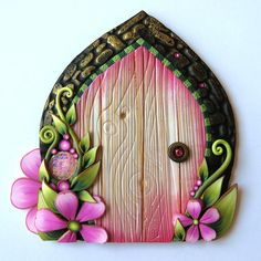 Pink Flower Fairy Door Polymer Clay Miniature Art Collectible One of a Kind Handmade Wall Decor