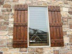 Ideas House Colors Exterior Ideas Shutters For 2019 Exterior Shutter Colors, Window Shutters Exterior, Cedar Shutters, Exterior Doors, Diy Shutters, Rustic Exterior, Wooden Window Shutters, Diy Exterior, Farm Shutters