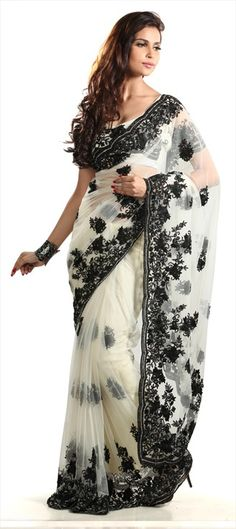 83627 Manish Malhotra's White saree-Black embroidery work in saree at #lakmefashionweek Day 1. Get similar style with this saree.