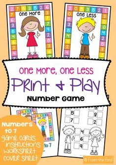 Students will love playing either 'One More' or 'One Less' to assist with counting, number sequence and as an easily introduction  to addition and subtraction.  Students simply roll a standard six sided die and add or take 'one' from the number rolled.