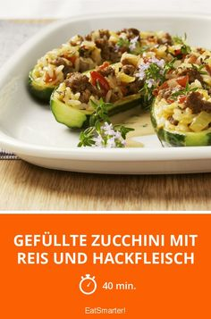 Gefüllte Zucchini mit Reis und Hackfleisch - smarter - Zeit: 40 Min. | eatsmarter.de Healthy Dishes, Food Dishes, Healthy Recipes, Zucchini Pickles, Healthy Food Delivery, Food Porn, Food And Drink, Veggies, Cooking Recipes