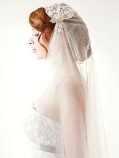 Chapel Length Lace Bridal Veil -- Juliet Cap