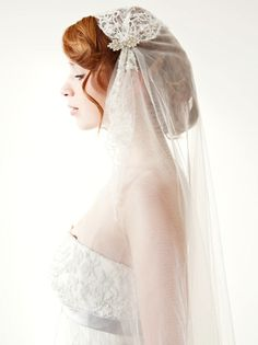 Chapel Length Lace Bridal Veil -- Juliet Cap