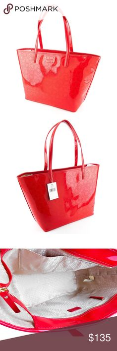 LOWEST Kate Spade red patent leather tote PRICE DROP NWT Kate Spade red patent leather purse. Metro harmony purse. Fairly large purse - I'll be posting a comparison photo soon of it on my mannequin. I paid $178 not including tax - so roughly $190 after tax. Absolutely no signs of wear in any sense, never used or worn. 2 pockets on interior and a zipper compartment as well. Zip shuts. kate spade Bags Totes