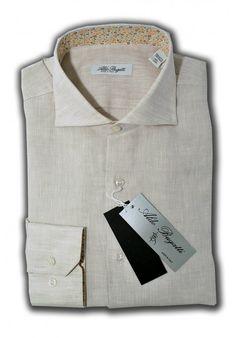 Camicia Uomo 100% Lino Beige con contrasti fantasia Slim Fit Collo Francese