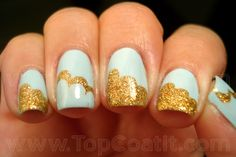 baby blue and gold cloud mani! <3