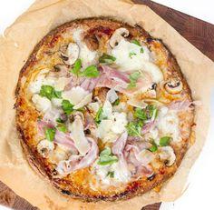 Glutenfri quinoapizza med skinka och svamp