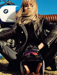 BMW babe with retro motorcycle.
