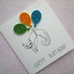 Greeting card with a cat - Happy Birthday Card - Handmade Birthday Card - Quilling Card