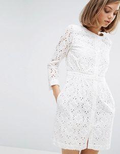 Vanessa Bruno Athe Broderie Button Front Dress