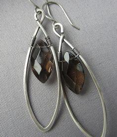 Silver wire Earrings/ Smokey Quartz Earrings/ Artisan by mese9