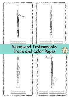 Woodwind Instrument Trace and Color Pages Saxophone Tenor, Bass Clarinet, Bassoon, Oboe, English Horn, Woodwind Instrument, Music Worksheets, Music Education, Musicals