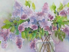 """The title of this watercolor is """"Lilac Love"""". It was sent to us by Karen Riedy. She did a great job on the colors on this painting. She used Winsor & Newton watercolours and painted it on Arches 300 lb watercolor paper. Karen - thank you for sharing this with us. #watercolorpainting #artwork"""