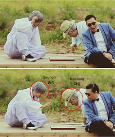 """WHAT!!! Did You Know that Big Bang Made a Surprise Appearance in Psys Gangnam Style MV?   The two """"grandfathers"""" were actually two men disguised as old men. After close observation, netizens realized they were none other than Big Bang's Daesung and Seungri."""