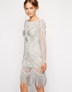 Frock and Frill   Frock and Frill All Over Embellished Dress With Tassel Hem at ASOS