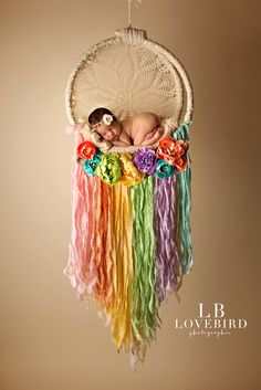 rainbow baby dreamcatcher woodlands baby photographer
