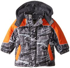 iXtreme Baby Boys' Brush Print Puffer, Orange, 12 Months