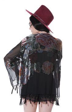 Rêve noir velours Burnout glande perlé Kimono par saltwatergypsy