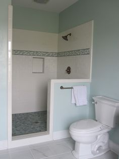 Shower with pebble tile floor, white subway tile and glass accent tile walls, and aqua painted bathroom walls