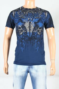 Throwdown SS Men€™s King Tee in Navy by Affliction® Clothing.  Majestic. Irresistible.  Throwdown tee for men mixes art with fashion in a men€™s short sleeve t shirt that defines raw fighting power. This tee for men has graphics on both front and back, featuring the Throwdown clothing trademark skull images and a fearless lion image on the back.  Bold navy color.