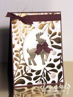 Stampin' Up! Year of Cheer Designer Series paper and Champagne Foil cardstock wiith Santa's Sleigh Edgelits.  2017 Holiday Catalogue. Claire Daly Stampin' Up! Demonstrator Melbourne Australia.
