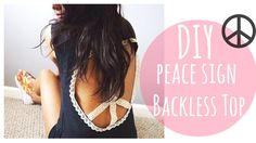 DIY Peace Sign Top! No sew, lace, boho cut out cut off T-shirt! How to make this quick, easy and cheap summer t-shirt project + MORE DIYS (shorts, room decor and more!)