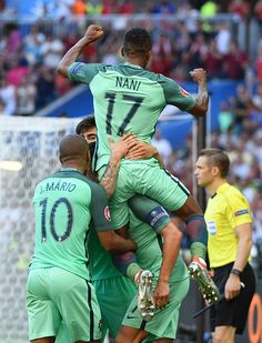 #EURO2016 Portugal's players celebrates after scoring their second goal during the Euro 2016 group F football match between Hungary and Portugal at the Parc...