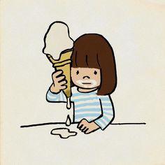 肝心のものを描き込み忘れたのでも一回 #白ひげ #ソフトクリーム #イラスト